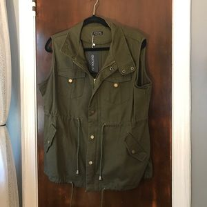Olive green sleeveless utility jacket